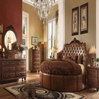 Formal Round Cherry Brown Bedroom Set Acme