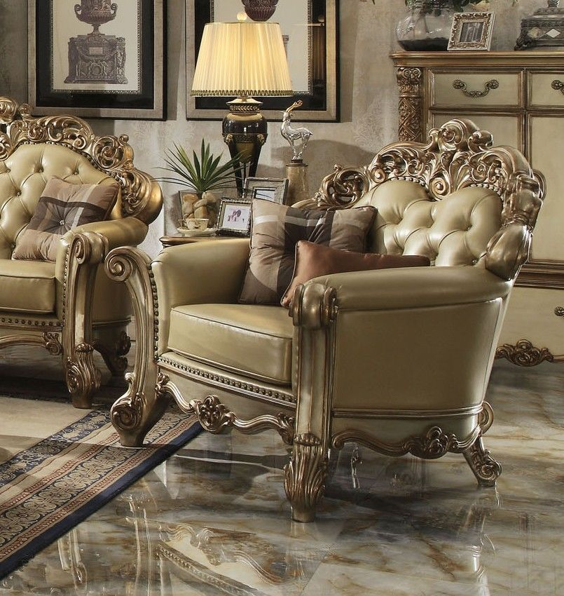 gold leather sofa set stitching repair in bangalore acme formal vendome 3pc | hot sectionals