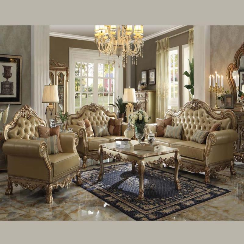 gold leather sofa set milan italian acme dresden collection formal | hot sectionals