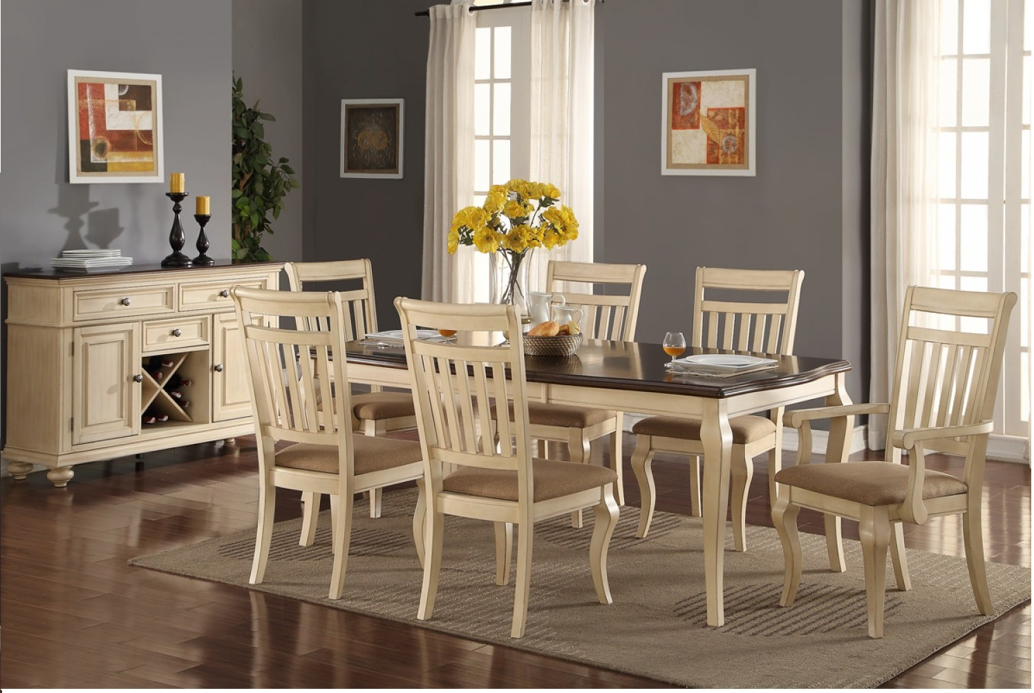 Traditional Cream Dining Set Poundex F2343  Hot Sectionals