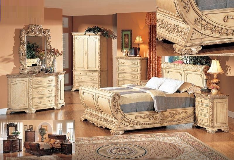 traditional formal antique beige 4pc queen bedroom set