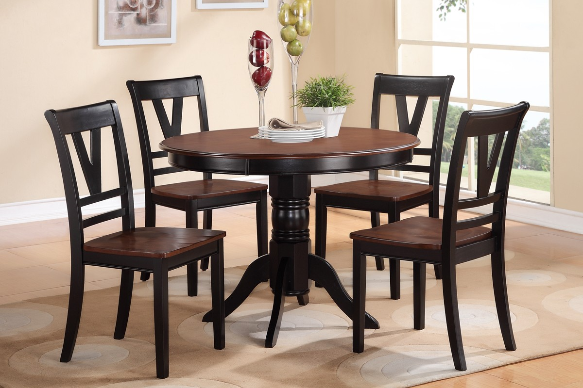 cherry wood table and chairs white bonded leather dining black finish 5p set poundex hot sectionals