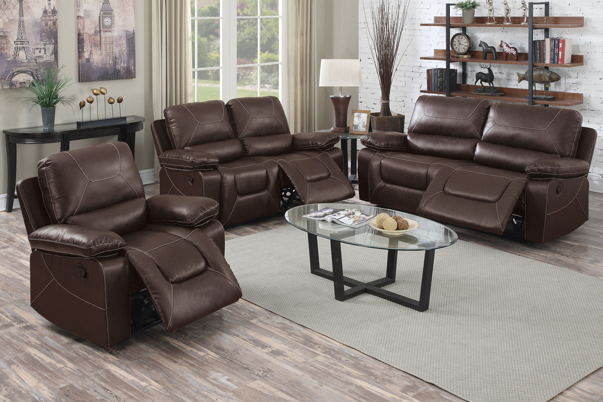 3pc recliner sofa set most comfortable with chaise reclining modern couch poundex f6727 hot