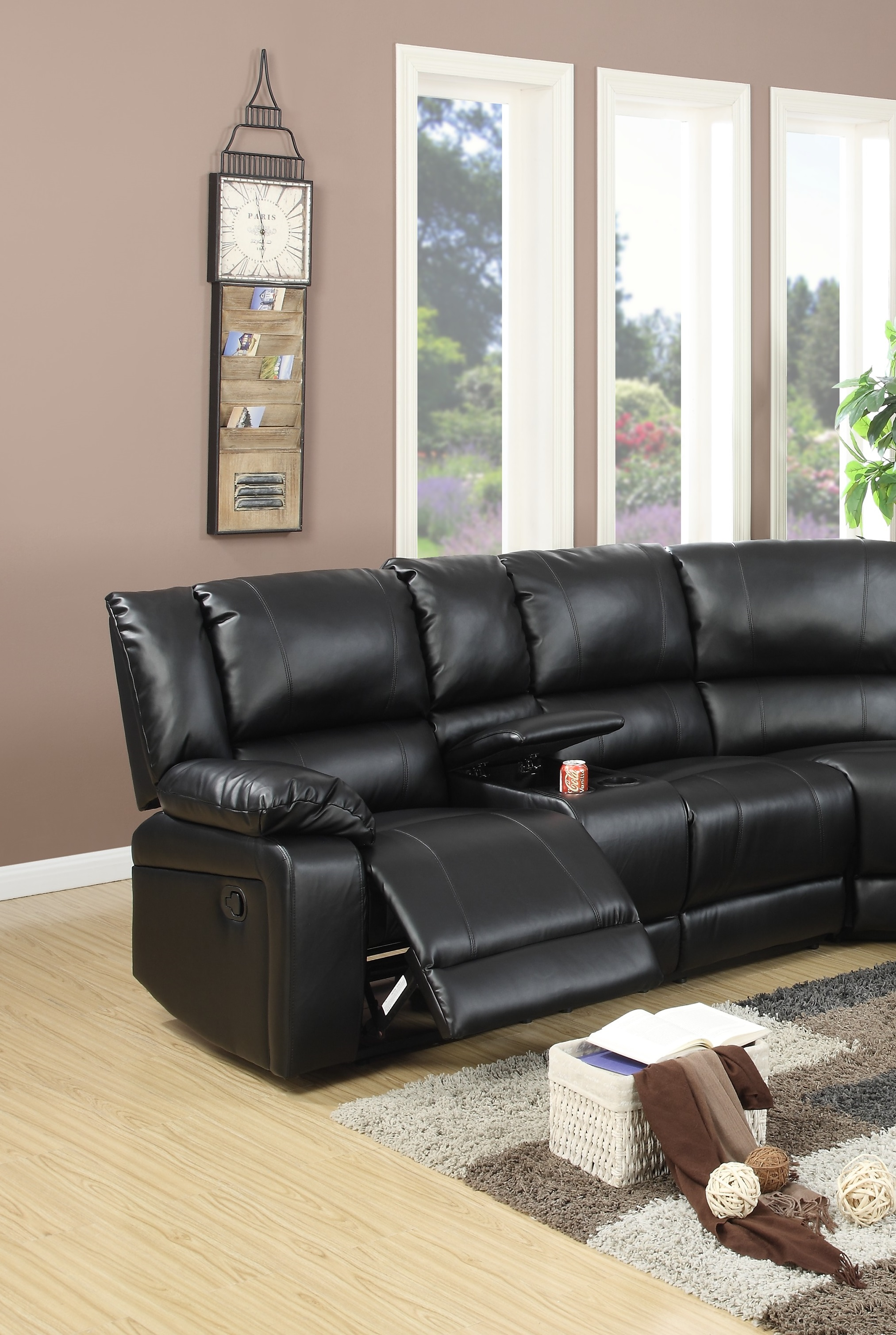 Sectional Black Leather Console Poundex F6745 Hot Sectionals