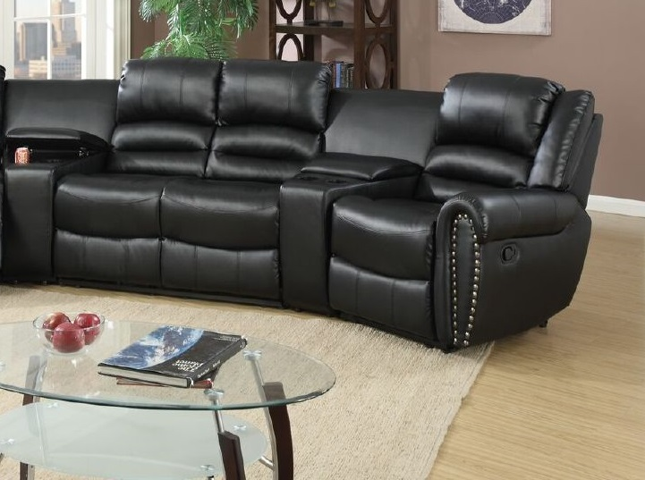 black reclining sofa with console huntington sectional leather poundex #f6747 ...