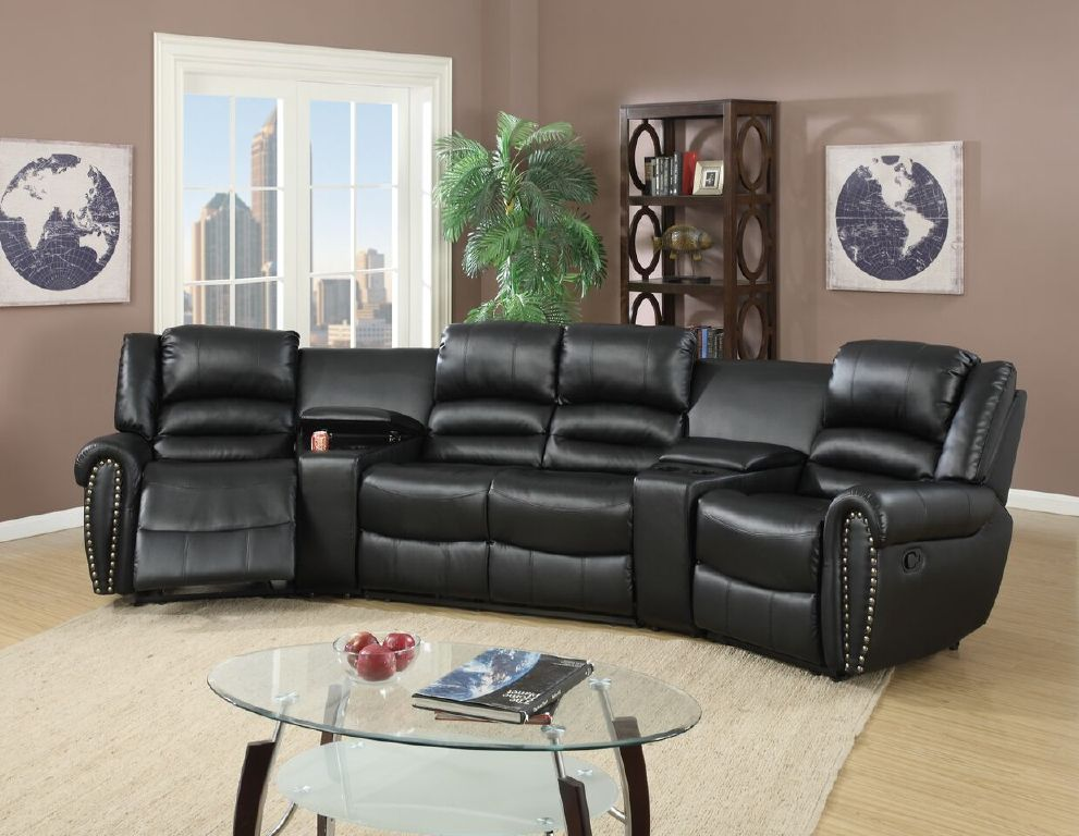 home theater reclining sectional sofa bar furniture console black leather poundex #f6747 ...