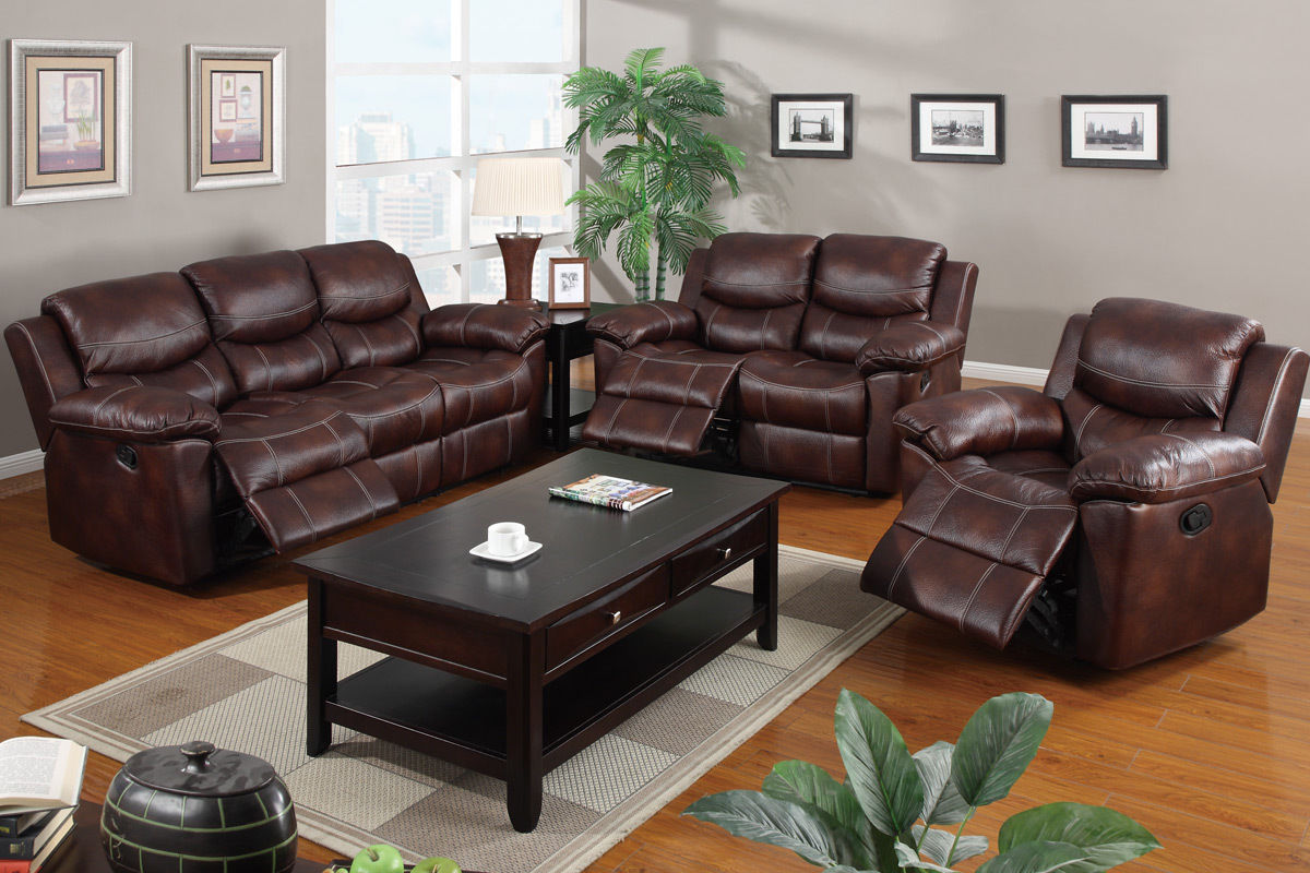 3pc recliner sofa set grey 2 seater and chair leather reclining poundex f7067 hot sectionals