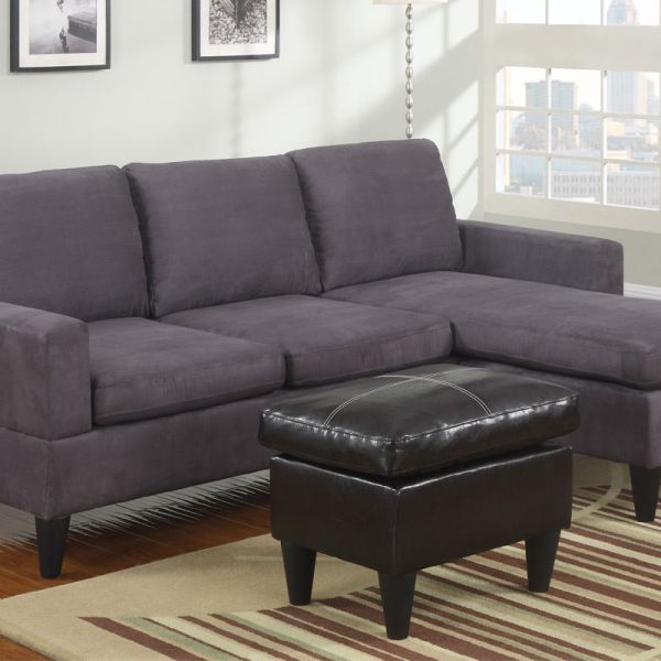 Modern Sectional Sofa w Free Ottoman Microfiber Gray #F7285