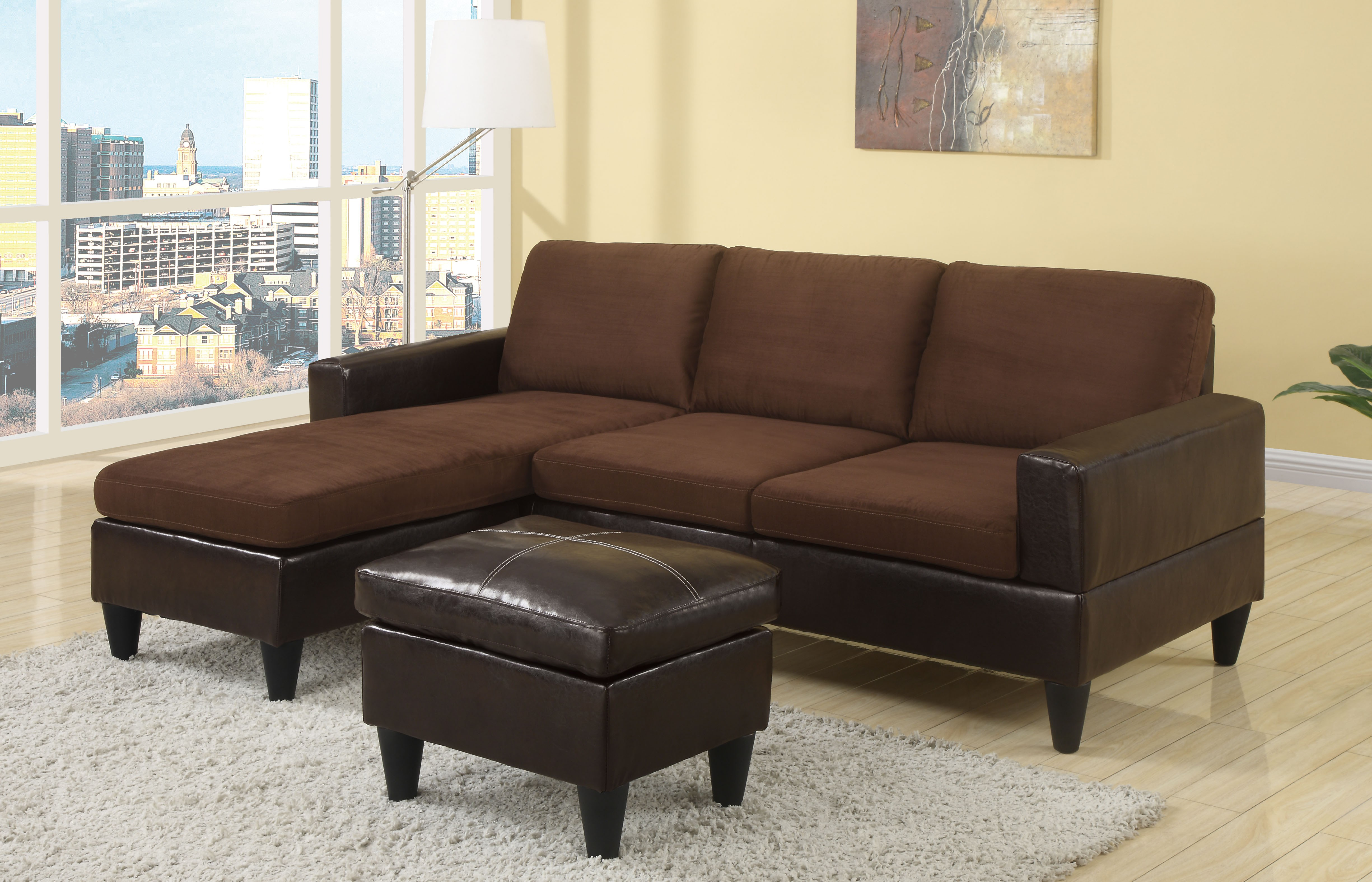 montreal sectional sofa in slate throw covers target poundex 2 pcs set loveseat bobkona furniture
