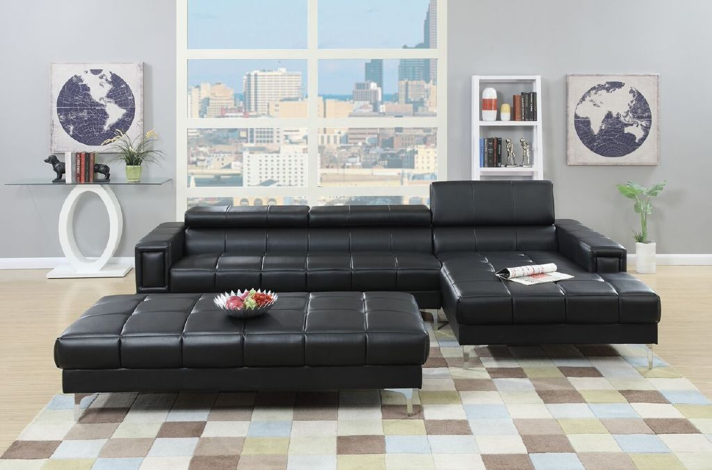 sectional w oversize ottoman modern black leather sofa chaise f7363