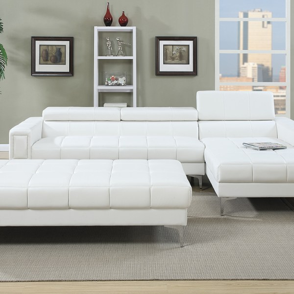 Poundex Sectional White Leather Sofa Chaise: Poundex, Sofa Chaise Sectional White Set