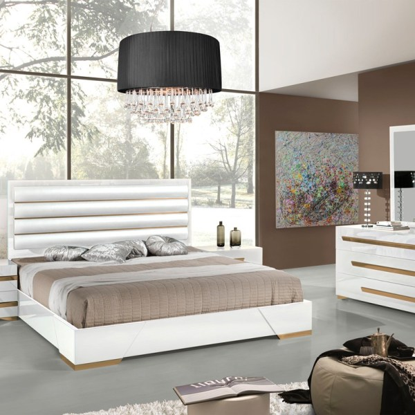 Modrest Juliet Italian Modern White & Rosegold Bedroom Set #VGACJULIET_Q