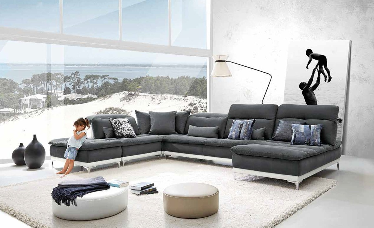 lusso horizon modern grey fabric leather sectional sofa gray slipcover couch vig furniture #vgfthorizon | hot ...