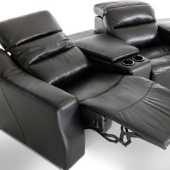 Valencia Black Recliner Leather Sofa And Grey Cushions Vig Furniture Reclining Sectional Vgkne9020 Hot