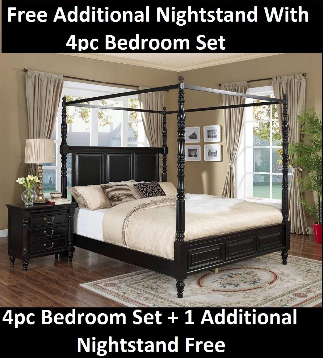 Nightstand Free W 4pc Western King Size Bedroom Hardwood