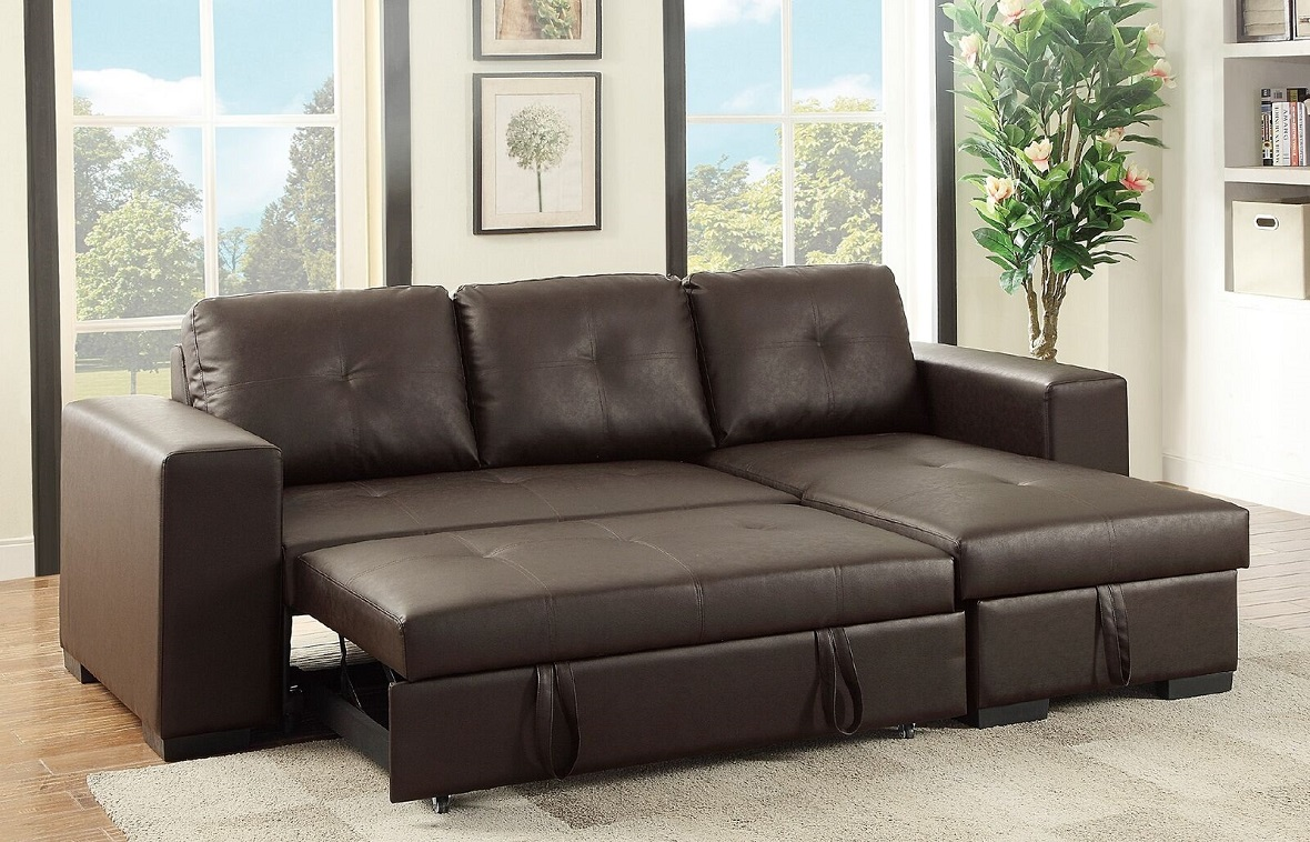 Sectional Sofa w Pull out Bed Storage Reversible Chaise