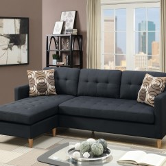 Interio Sofa Charlie Ikea Bed Living Room Reversible Small Sectional Black Polyfiber