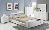 Elegant White Upholstered Storage Bed 5pc Queen Size Layla ...