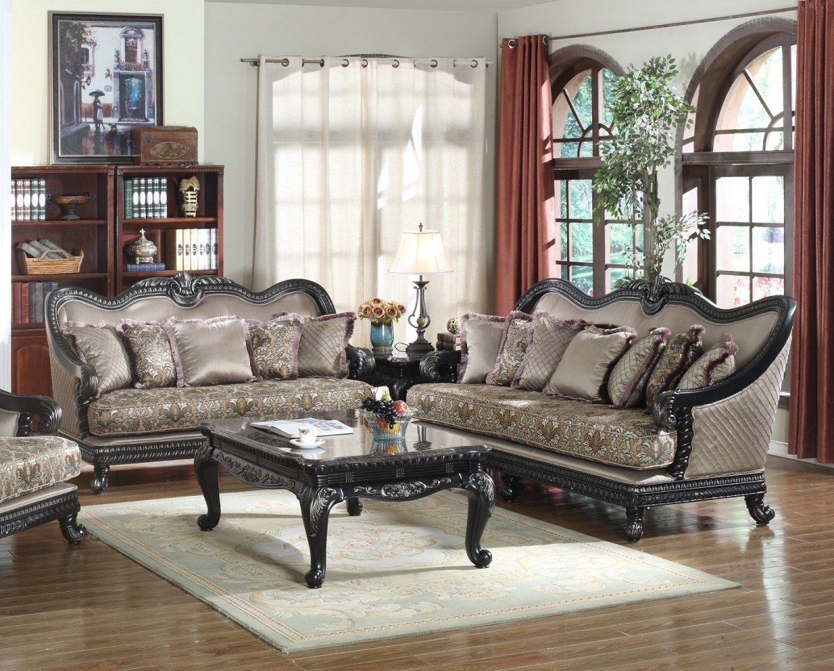 2pc Sofa Set Black Traditional Living Room Hot Sectionals