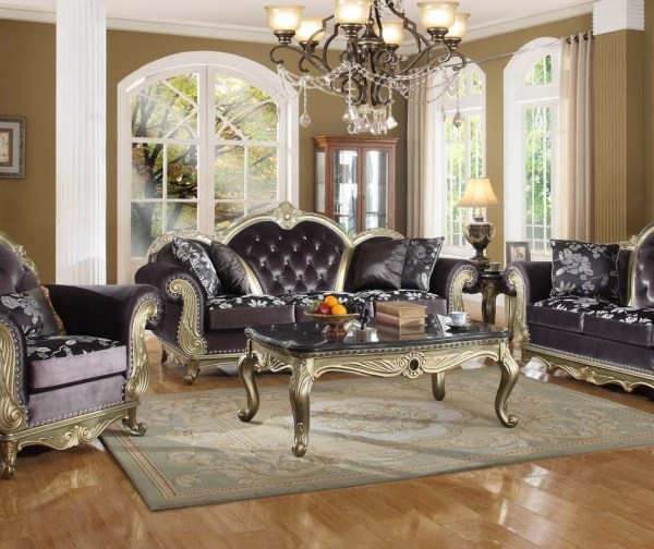 Traditional Living Room Furniture Sectionals: 2pc Traditional Sofa Living Room Furniture