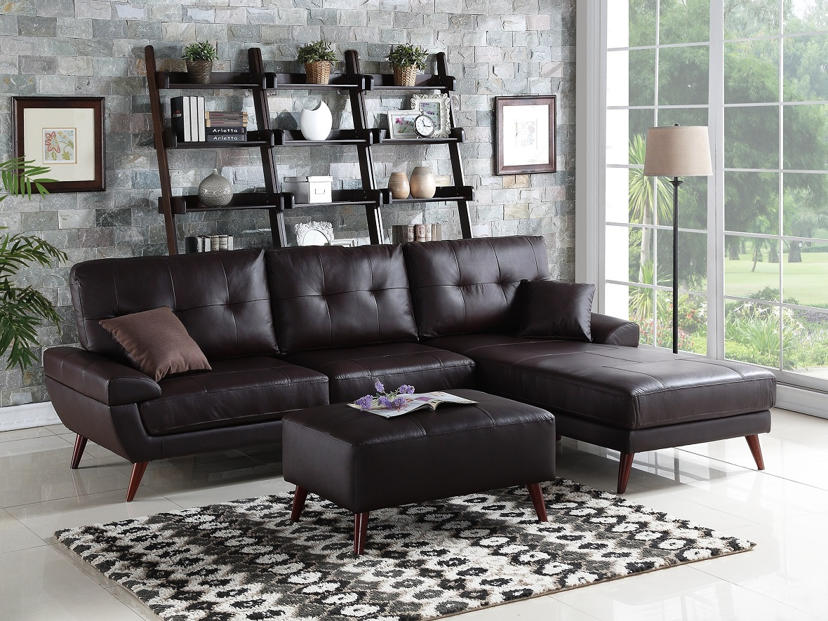 genuine leather sectional sofa with chaise solid oak futon bed match brown 2pc living room