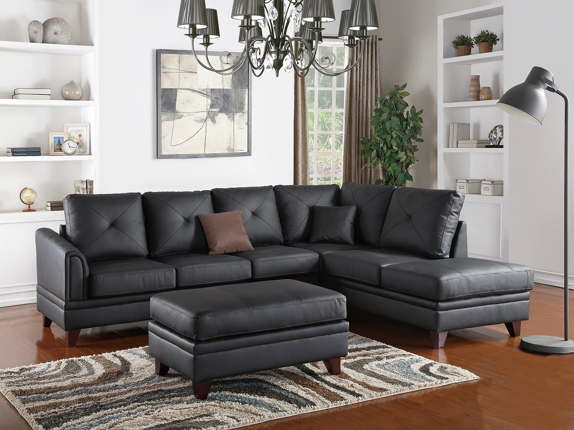 chocolate brown leather sectional sofa with 2 storage ottomans buy cushion covers online reversible chaise 2pc contemporary black