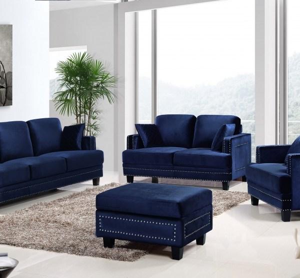 Meridian 655 Navy Velvet Leather Living Room Sofa Set 2pc. Contemporary  Style