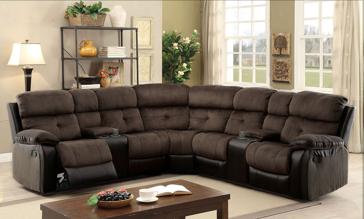 Brown Fabric Sectional Console Recliner Hot Sectionals