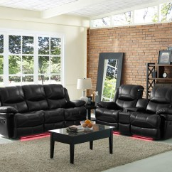 Black Reclining Sofa With Console Leather Bed For Sale Modern Dual Recliner Loveseat 2pc Set Hot Sectionals Flynn