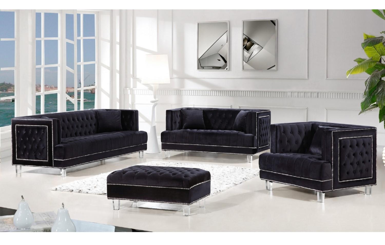 black velvet sofa living room amalfi bed 3pc set furniture hot sectionals