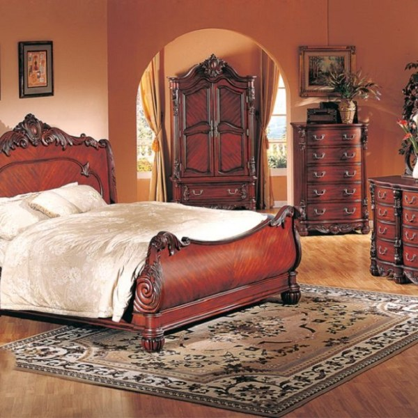 Formal Luxury Antique Daruka Cherry Queen Size 4 Piece: Formal Cal King 4pc Bedroom Set Cherry Finish