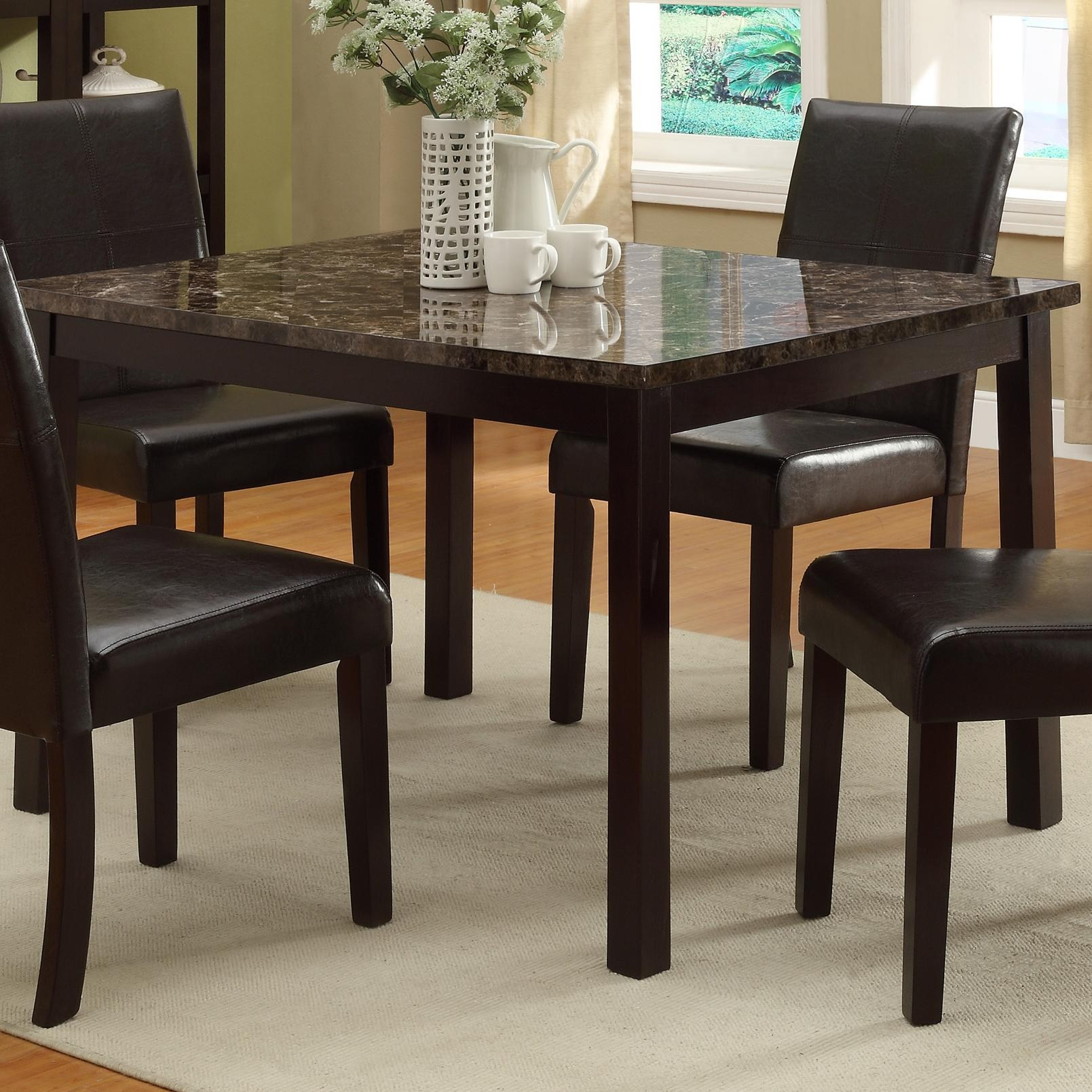 5pc Dining Room Table w4 Side Chairs Uph Black Seat Back