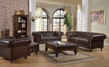 2pc sofa set dark brown traditional