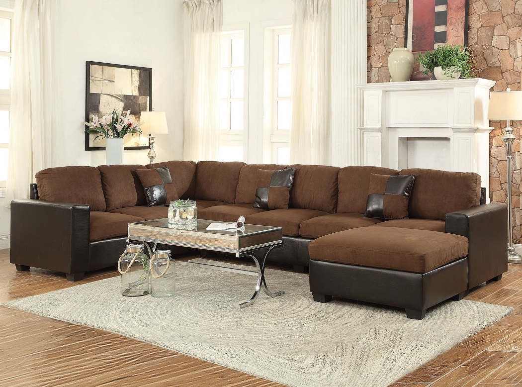 corey chocolate brown sectional sofa moving through door microfiber 3pc set hot sectionals