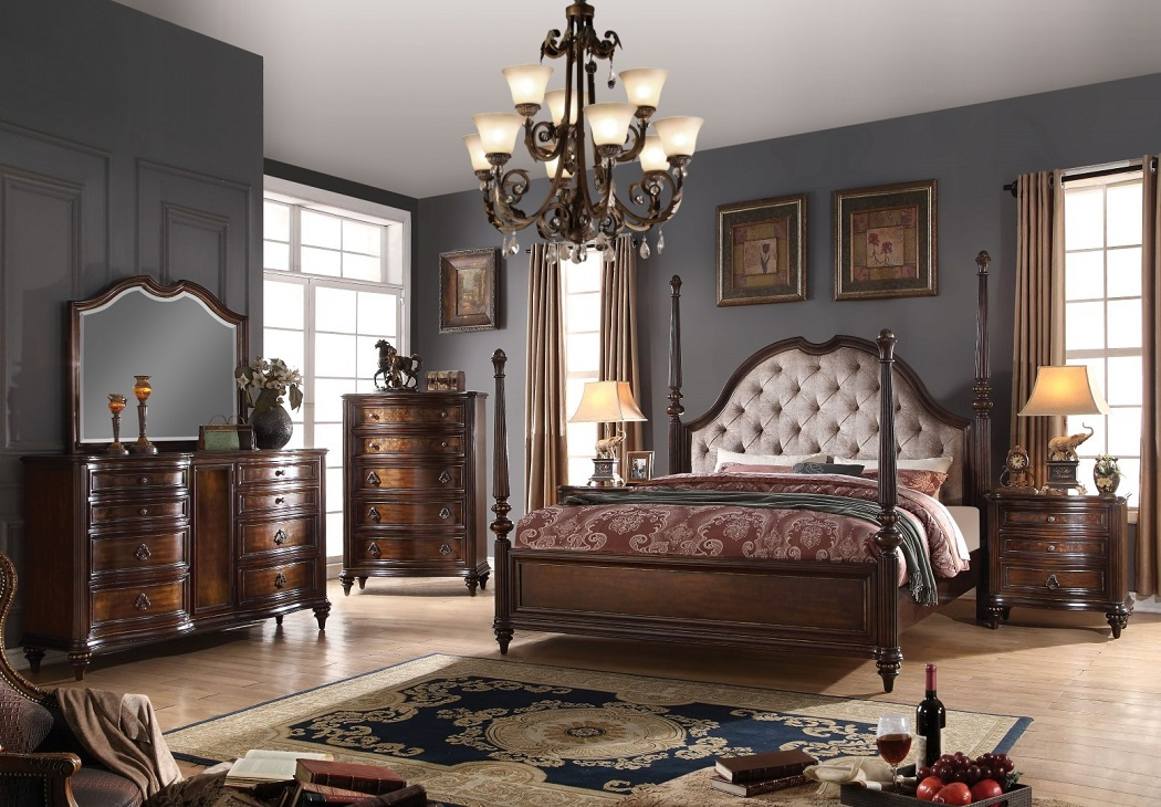 4pc CalKing Size Bedroom Set Walnut Traditional  Hot