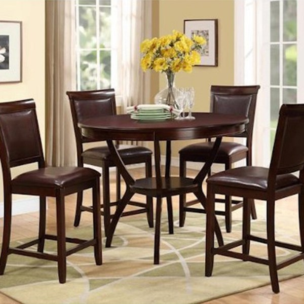 5pc Set Round Dinette Kitchen Table W 4 Microfiber: 5p Round Counter Height Table 4 Chairs Faux