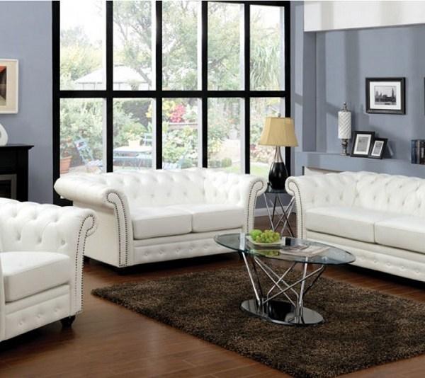 Impressive White Bonded Leather Sofa 3 White Leather: 3pc Sofa Set White Bonded Leather Living Room