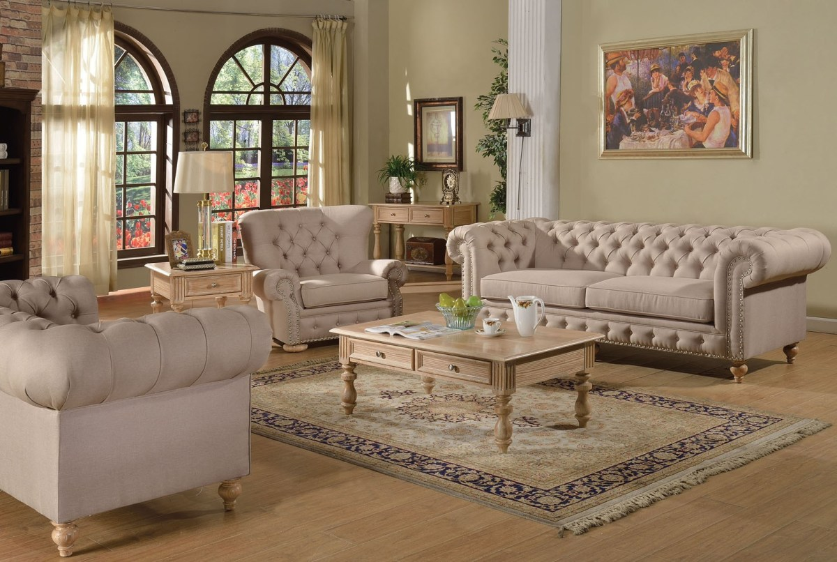 2pc Sofa Set Beige Fabric Traditional Living Room | Hot ...