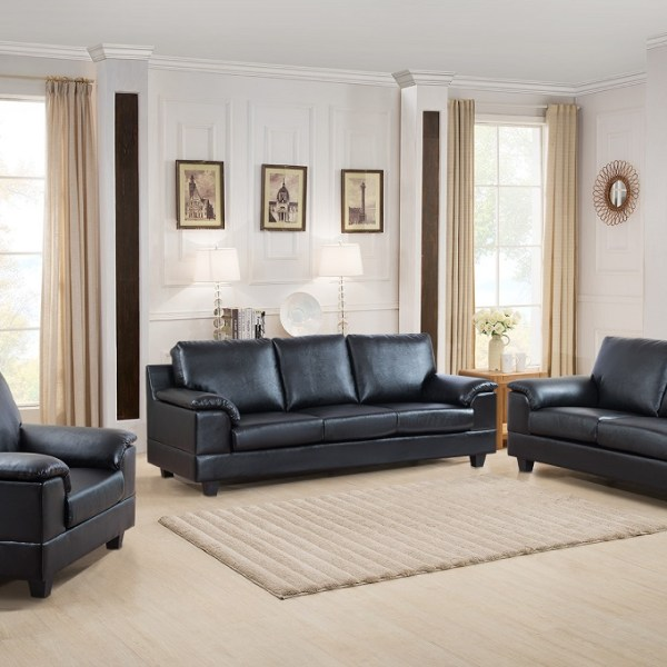 Living Room 3pc Sofa Set Contemporary Sofa Loveseat & Chair Black Finish