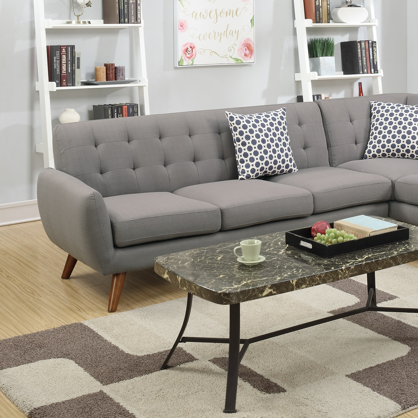 gray linen tufted sofa beige fabric sectional loveseat wedge couch hot sectionals