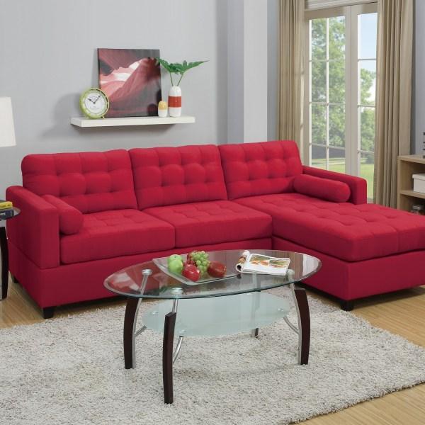 New Sectional Poundex Fabric Carmine Sofa Hot Sectionals