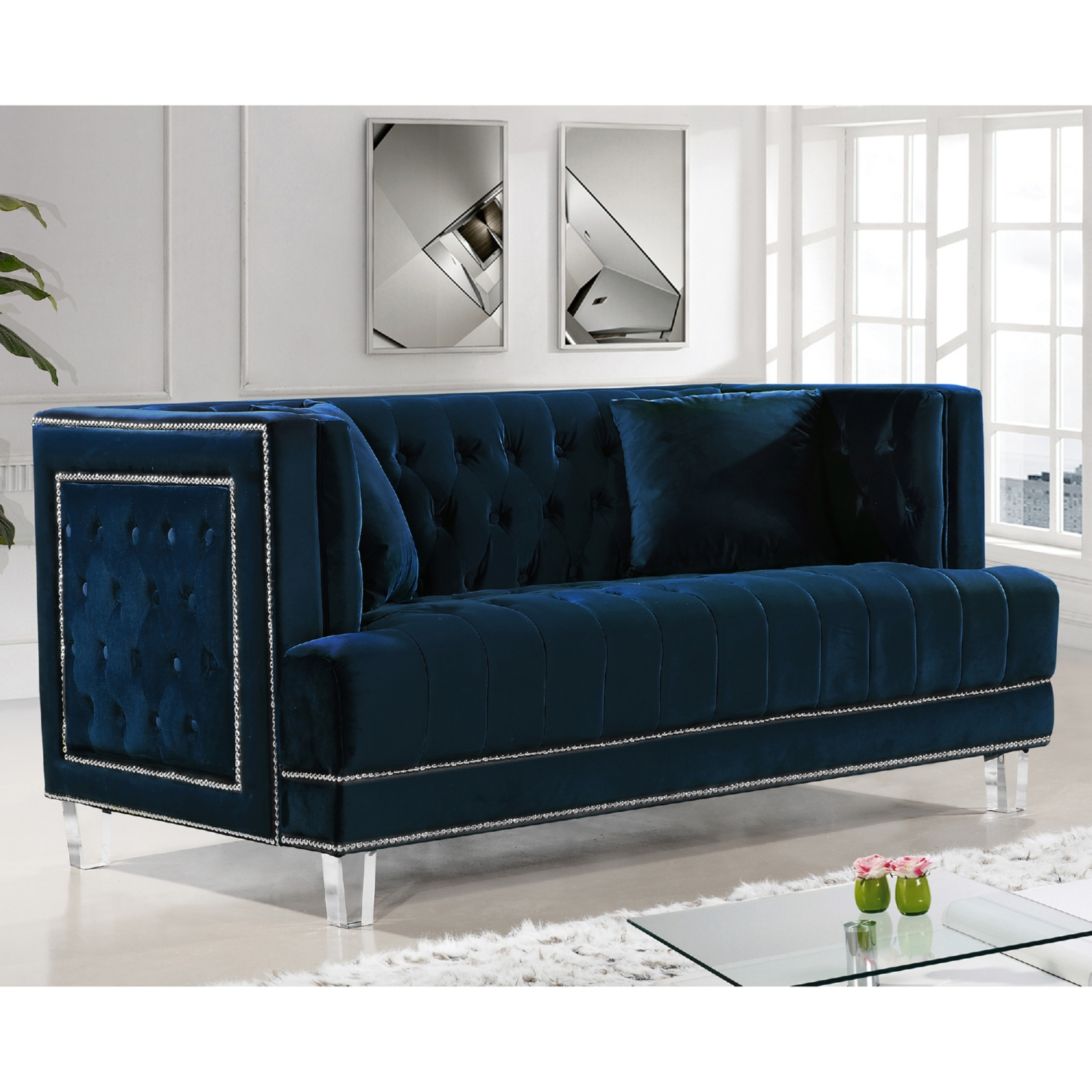 chloe velvet tufted sofa living room furniture collection sectional sofas with drink holders 3pc navy set new hot sectionals