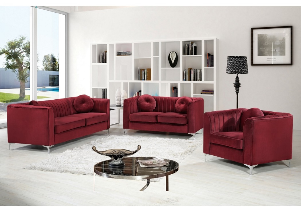New! Modern Design 3pc Sofa Set Burgundy Velvet Fabric Soft Deep  Comfortable Seating Living Room Furniture