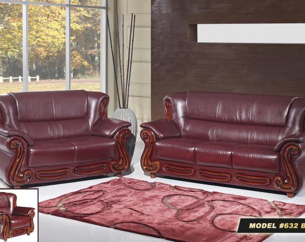 Meridian 632 Bella Living Room Sofa in Burgundy Bonded Leather Traditional  Style