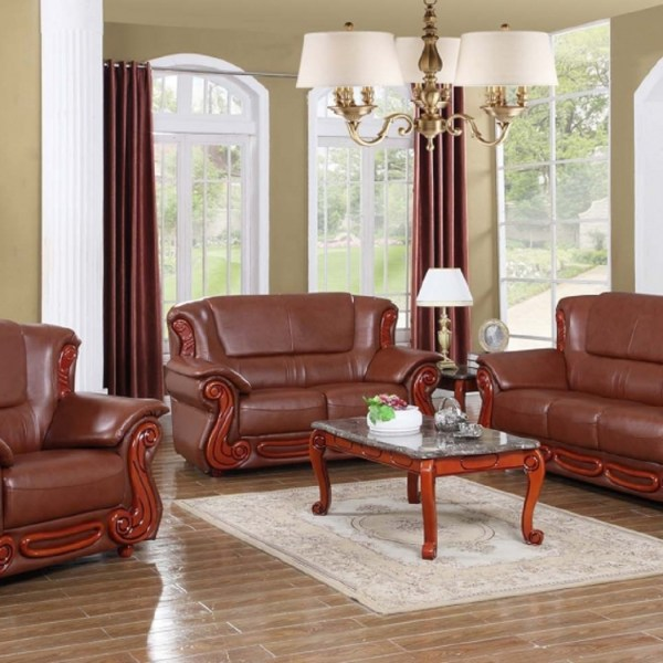 Traditional Living Room Furniture Sectionals: 3pc Sofa Set Brown Traditional Living Room