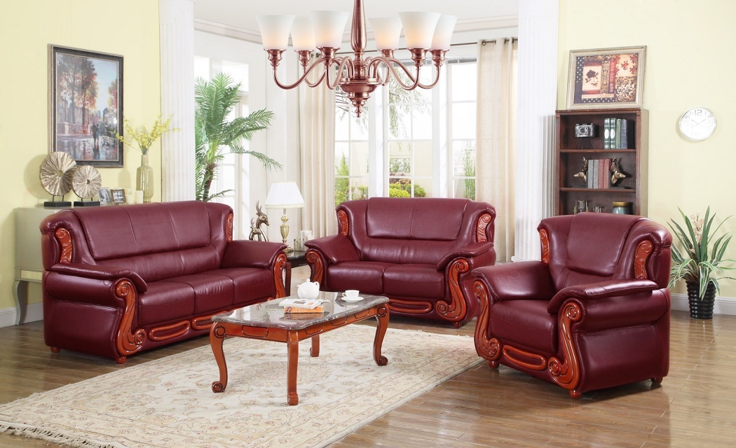Traditional Meridian Furniture Burgundy Bonded Leather Living Room Sofa Set  3pc Rich Cherry Wood Accents