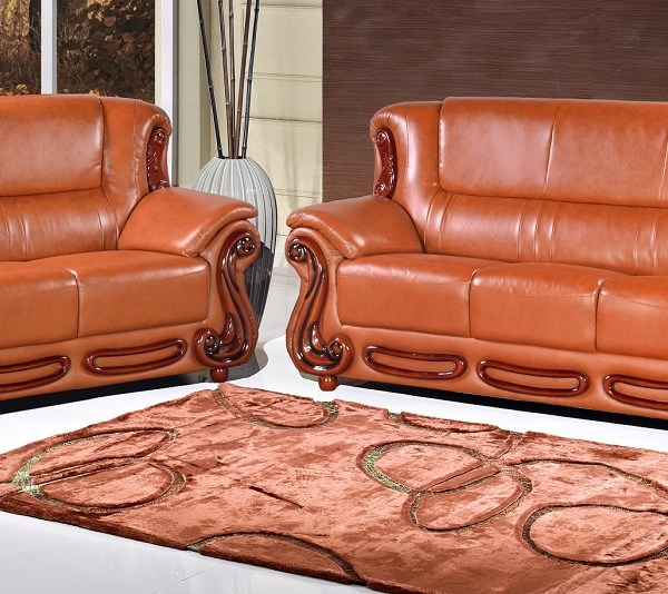 Meridian 632 Bonded Leather Living Room Sofa Set 3pc. Cognac Bonded Leather  Traditional