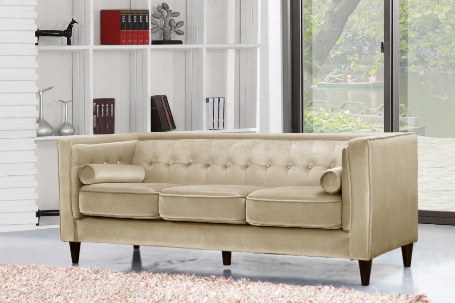 Contemporary Beige Velvet Sofa Living Room #642 | Hot ...