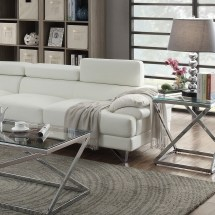 Poundex Sectional White Leather Sofa Chaise Hot Sectionals