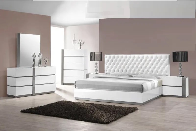 D313 Modern Dining Room Set In White Lacquer Finish: Queen Size Bedroom 1pc Bed White Finish